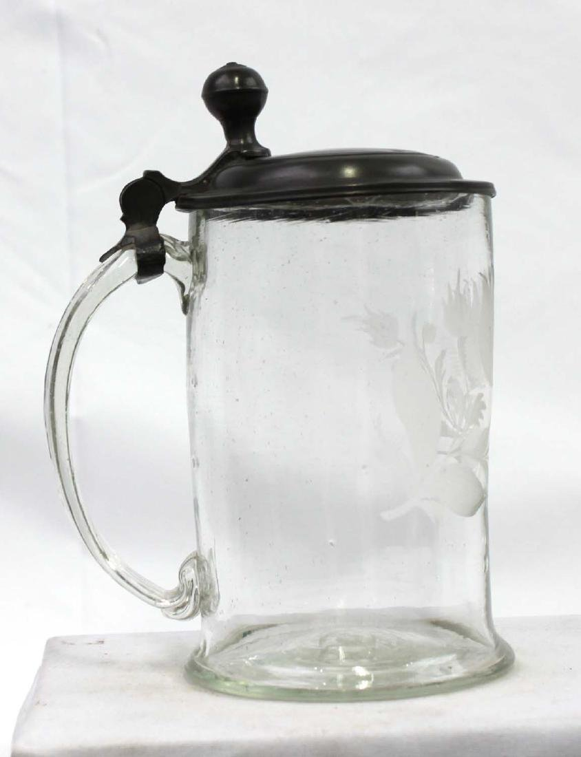 18th Century Engraved Glass Stein With Pewter Mounts - 2