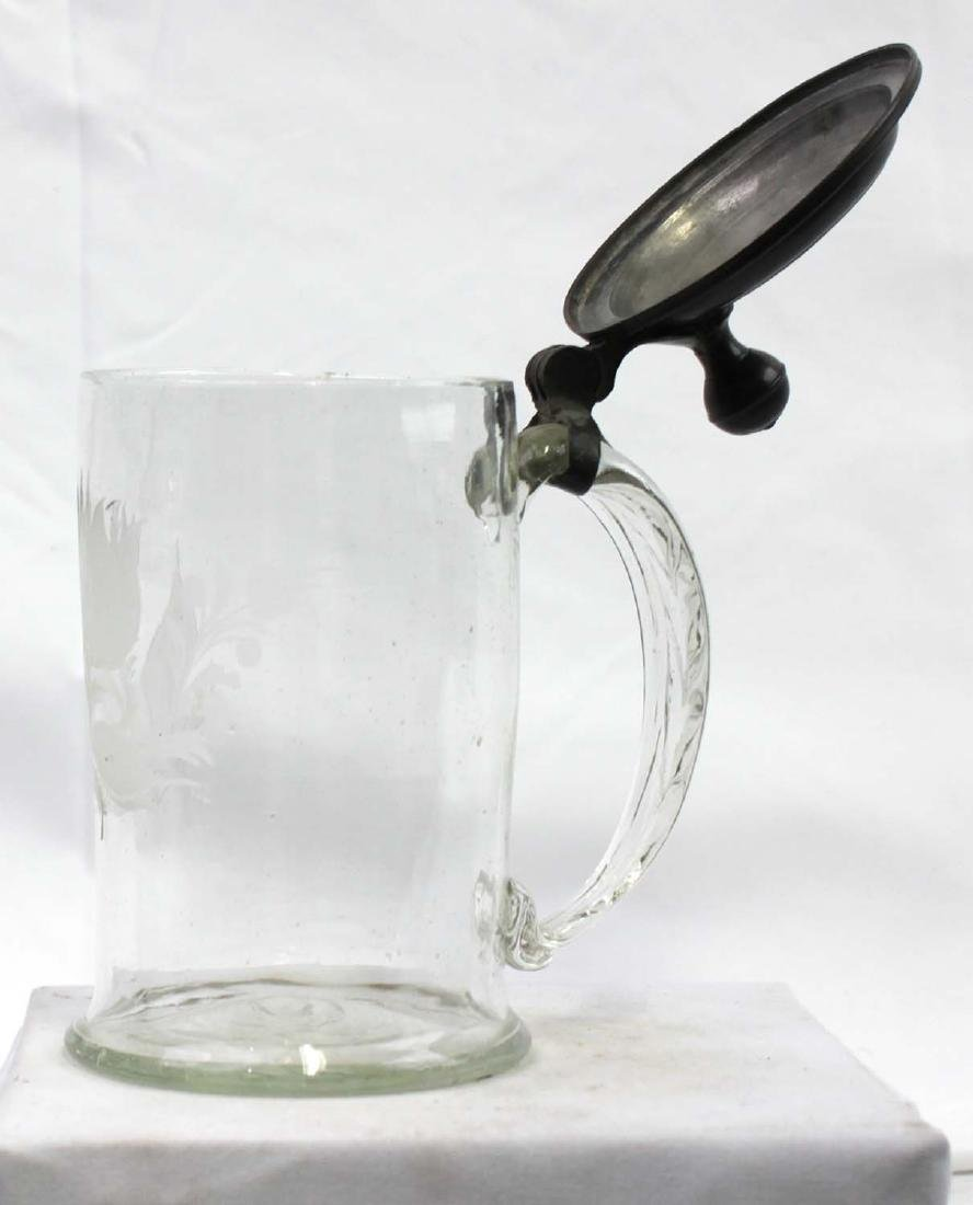 18th Century Engraved Glass Stein With Pewter Mounts - 5