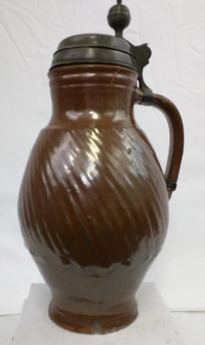 17 Century German Salt Glaze Pottery Jug