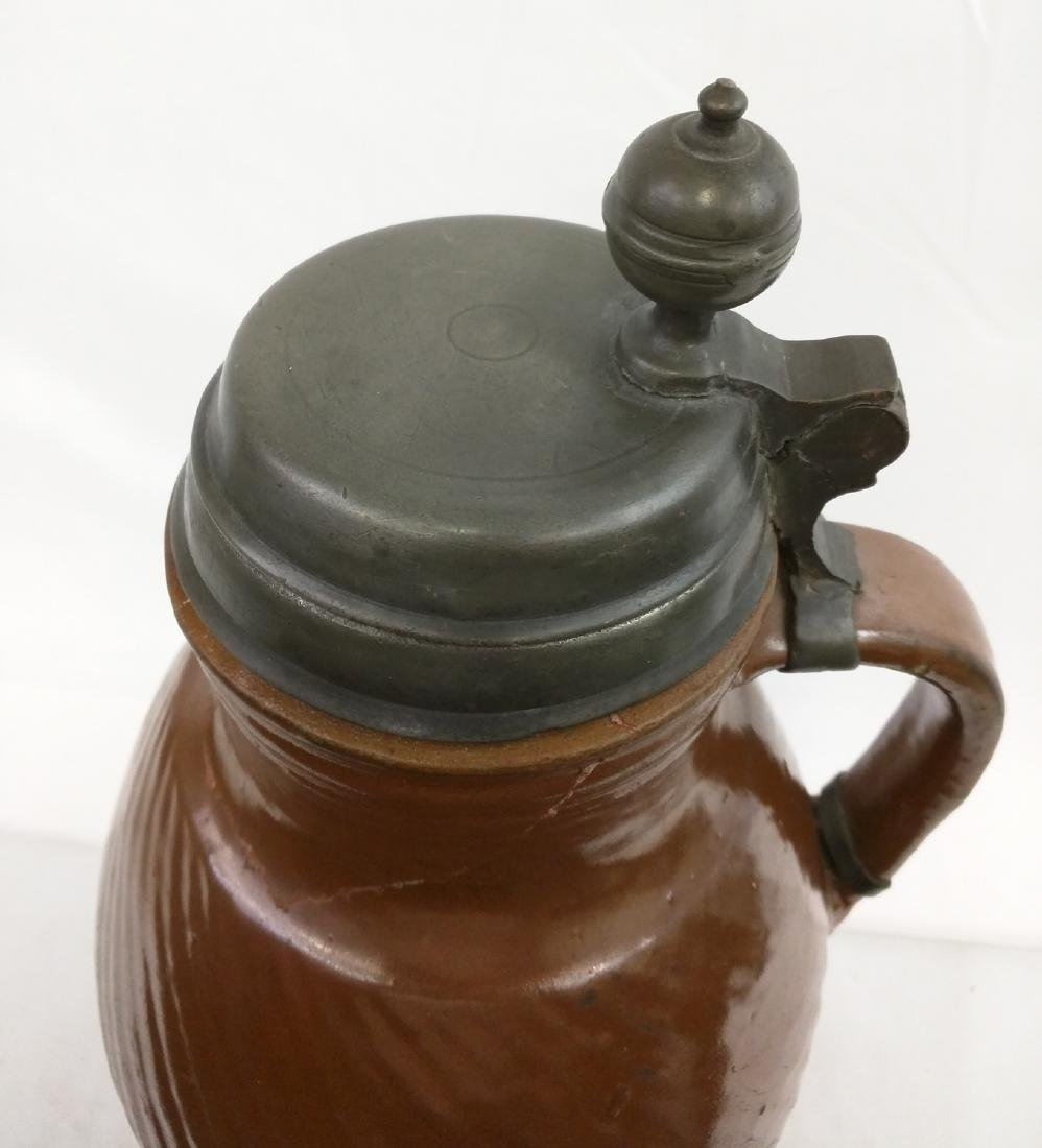 17 Century German Salt Glaze Pottery Jug - 3