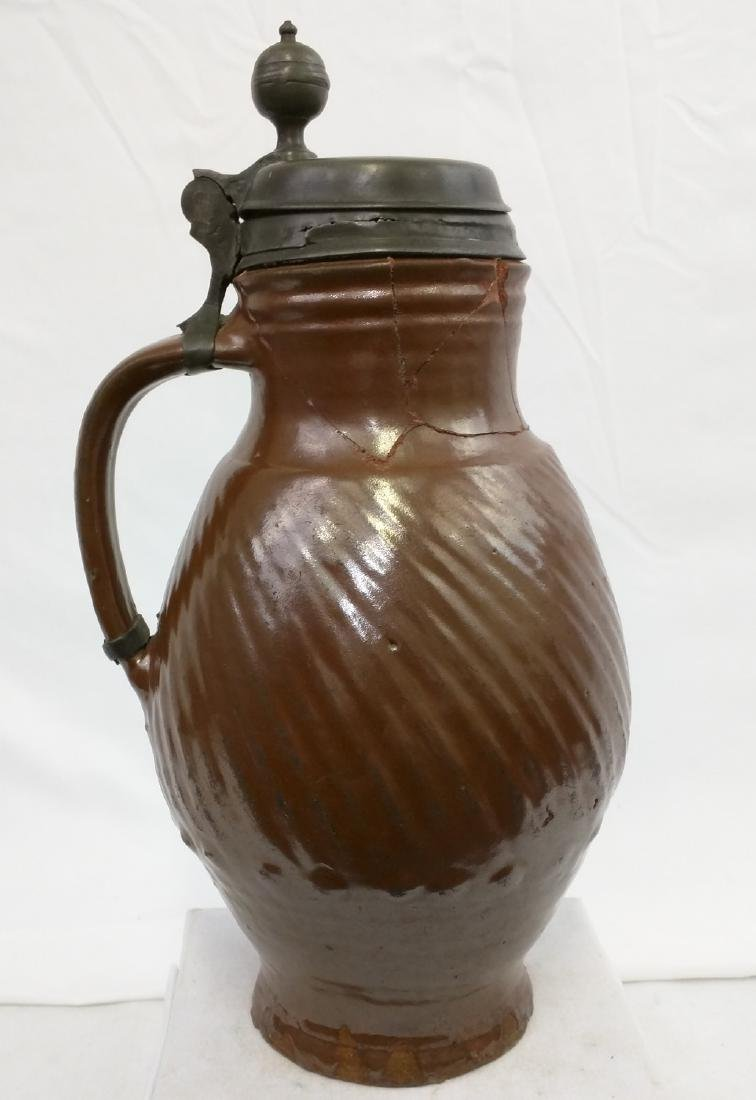 17 Century German Salt Glaze Pottery Jug - 4
