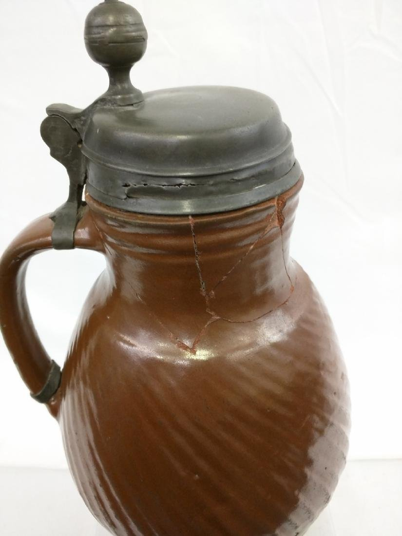 17 Century German Salt Glaze Pottery Jug - 5