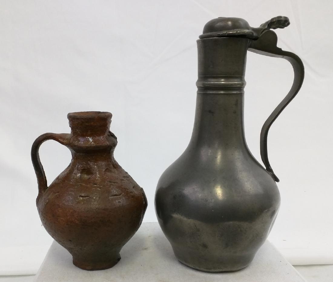 Two 17 Century German Jug Pewter and Salt Glaze Pottery