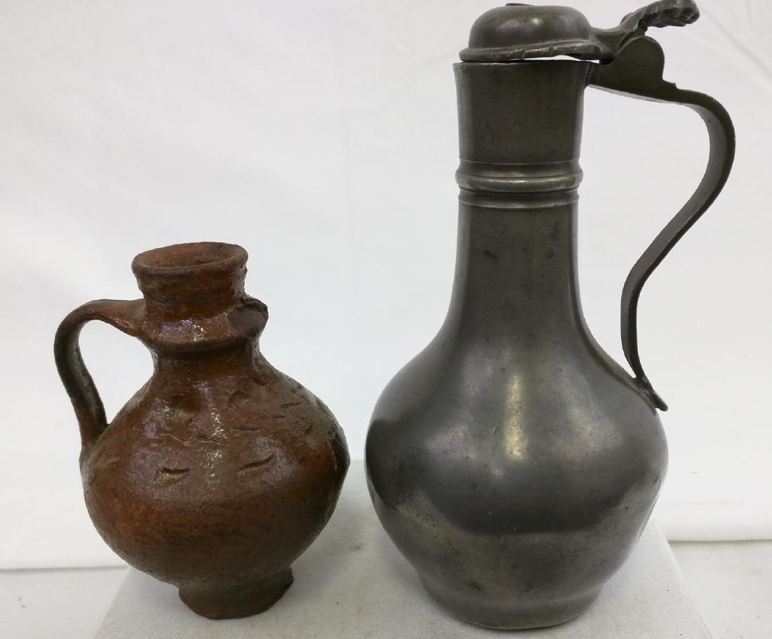 Two 17 Century German Jug Pewter and Salt Glaze Pottery - 2