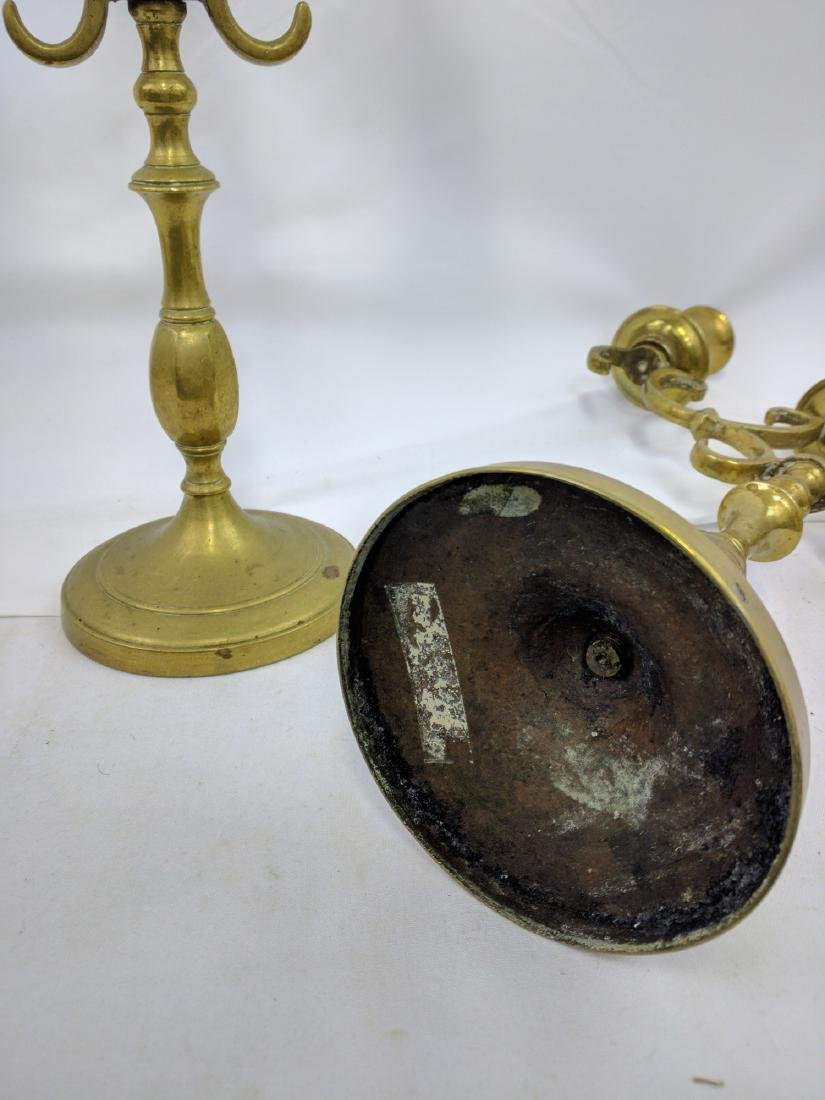PAIR OF HEAVY BRASS CANDLE HOLDERS (Candlestick) - 5