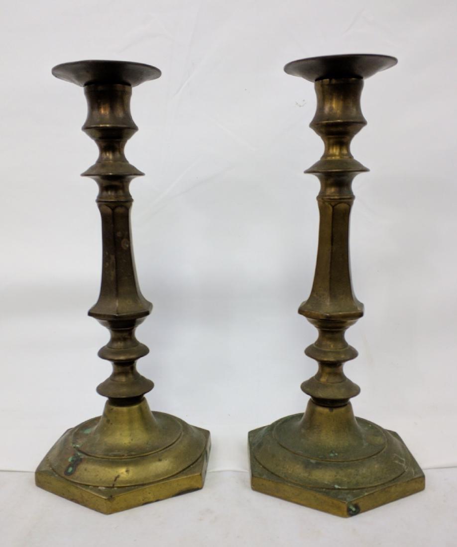Pair of 18th Century Brass Candlesticks.