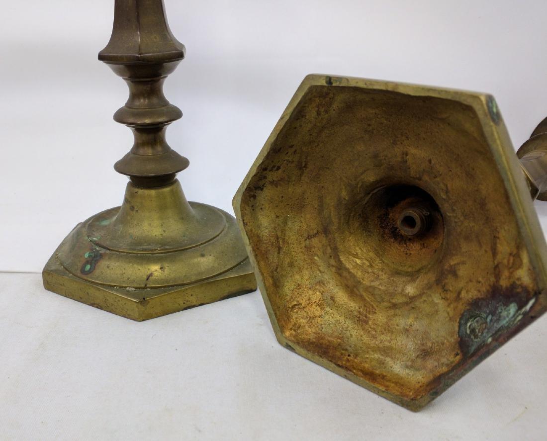 Pair of 18th Century Brass Candlesticks. - 6