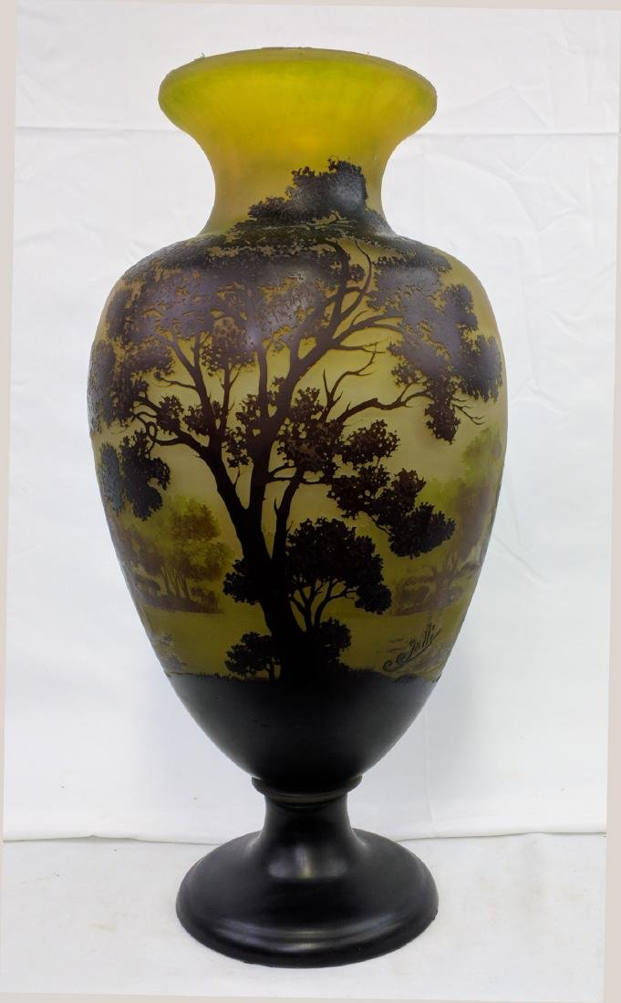 Large Galle Cameo Glass Landscape Vase, Circa 1900