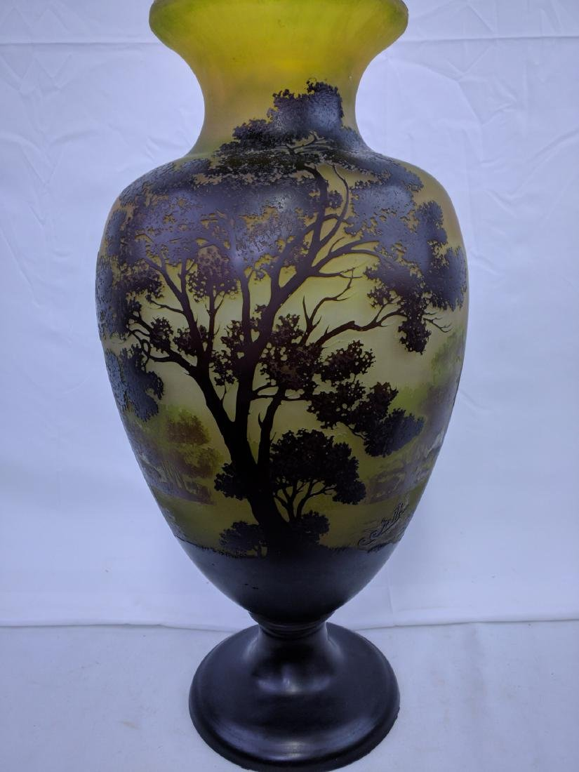 Large Galle Cameo Glass Landscape Vase, Circa 1900 - 2