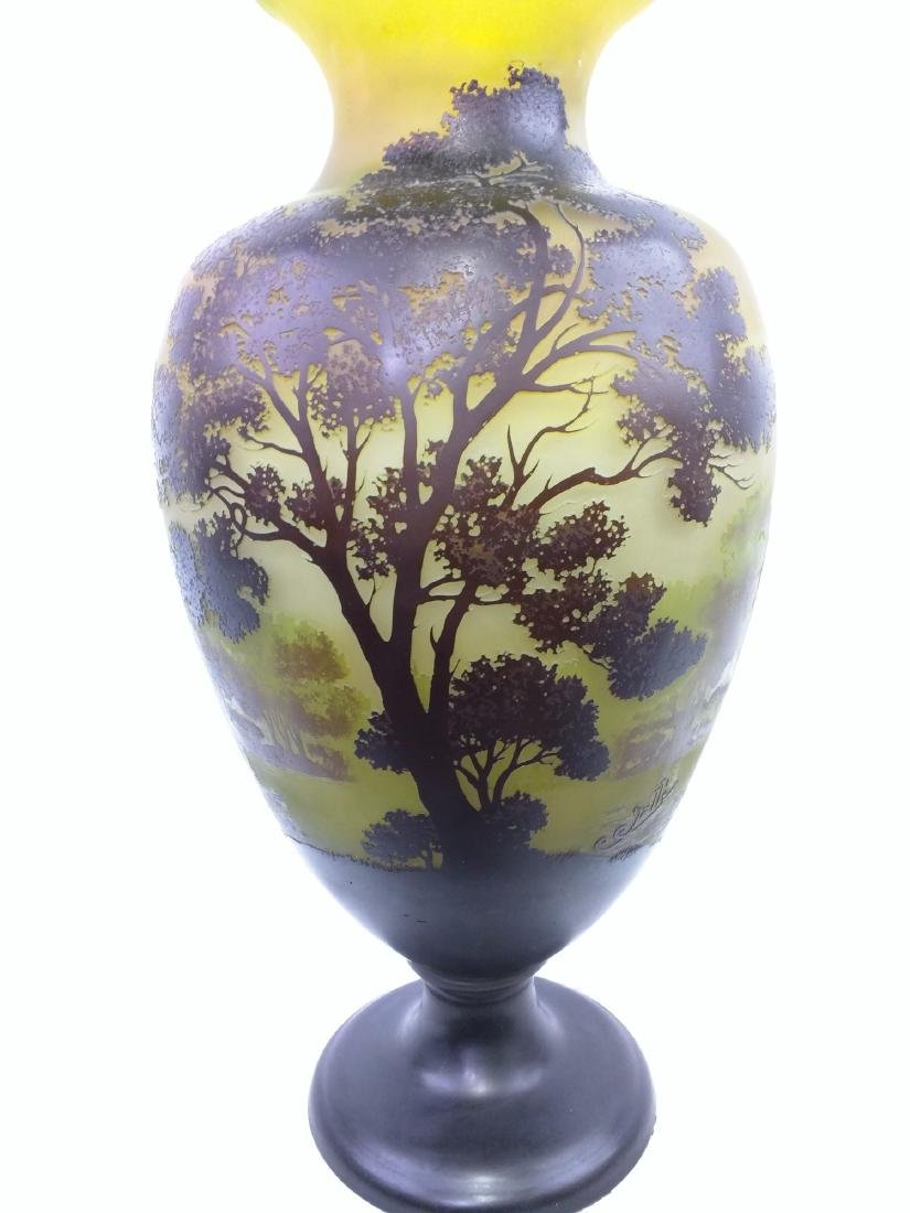 Large Galle Cameo Glass Landscape Vase, Circa 1900 - 3