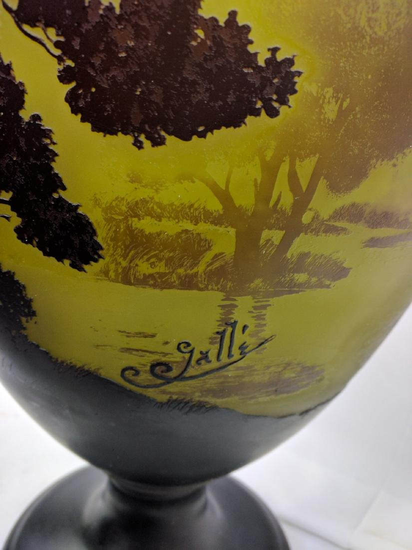 Large Galle Cameo Glass Landscape Vase, Circa 1900 - 5