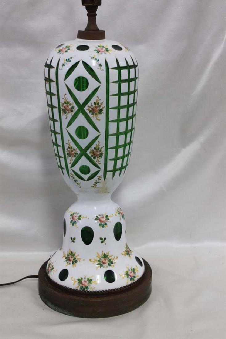 Vintage Bohemian Czech Glass White Overlay