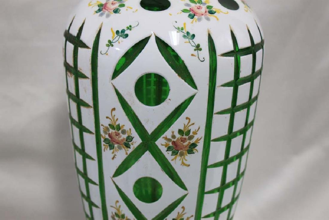Vintage Bohemian Czech Glass White Overlay - 2