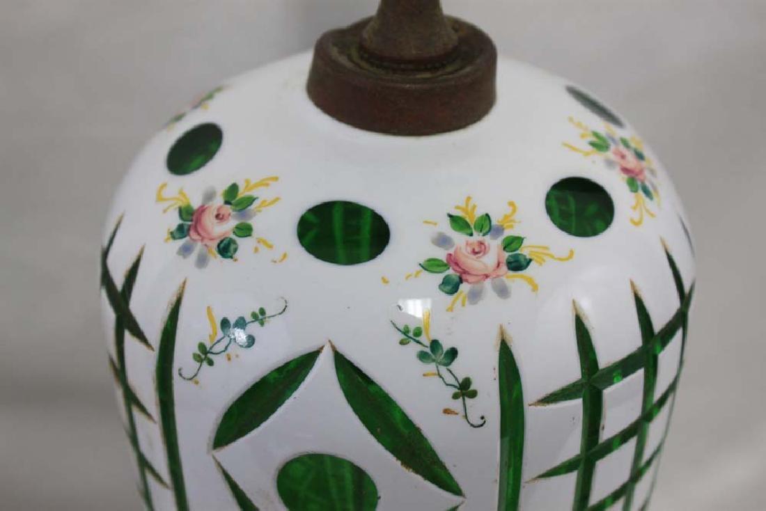 Vintage Bohemian Czech Glass White Overlay - 3
