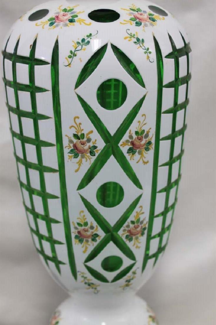 Vintage Bohemian Czech Glass White Overlay - 5