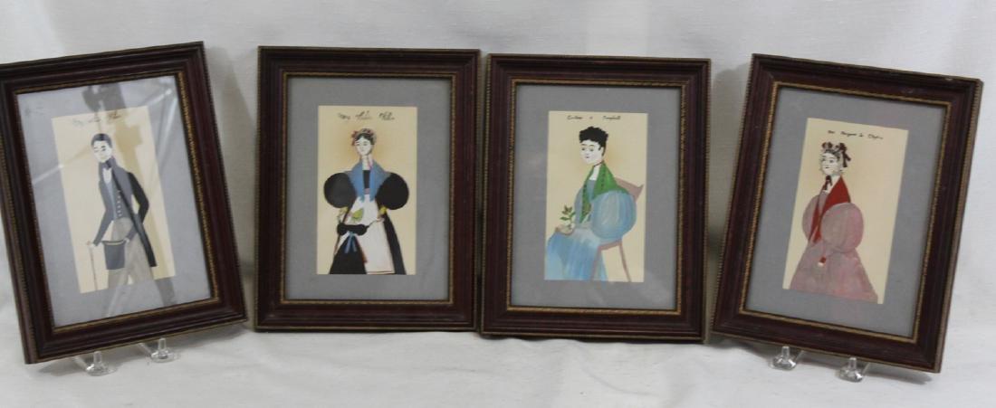 Set of four Folk-style Portraits Miniature Portraits of