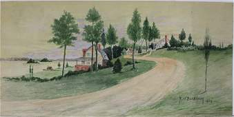 American Watercolor on cardboard painting by R W