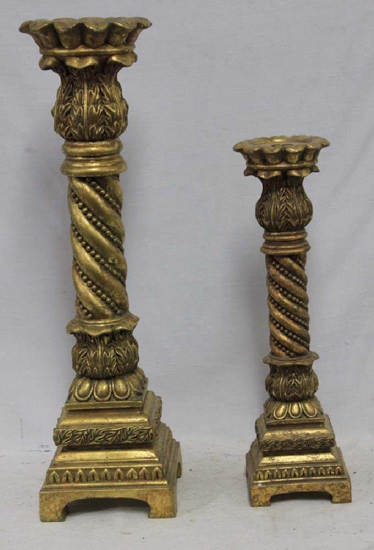 Two Large Carved Wood Gilded Candle Holder
