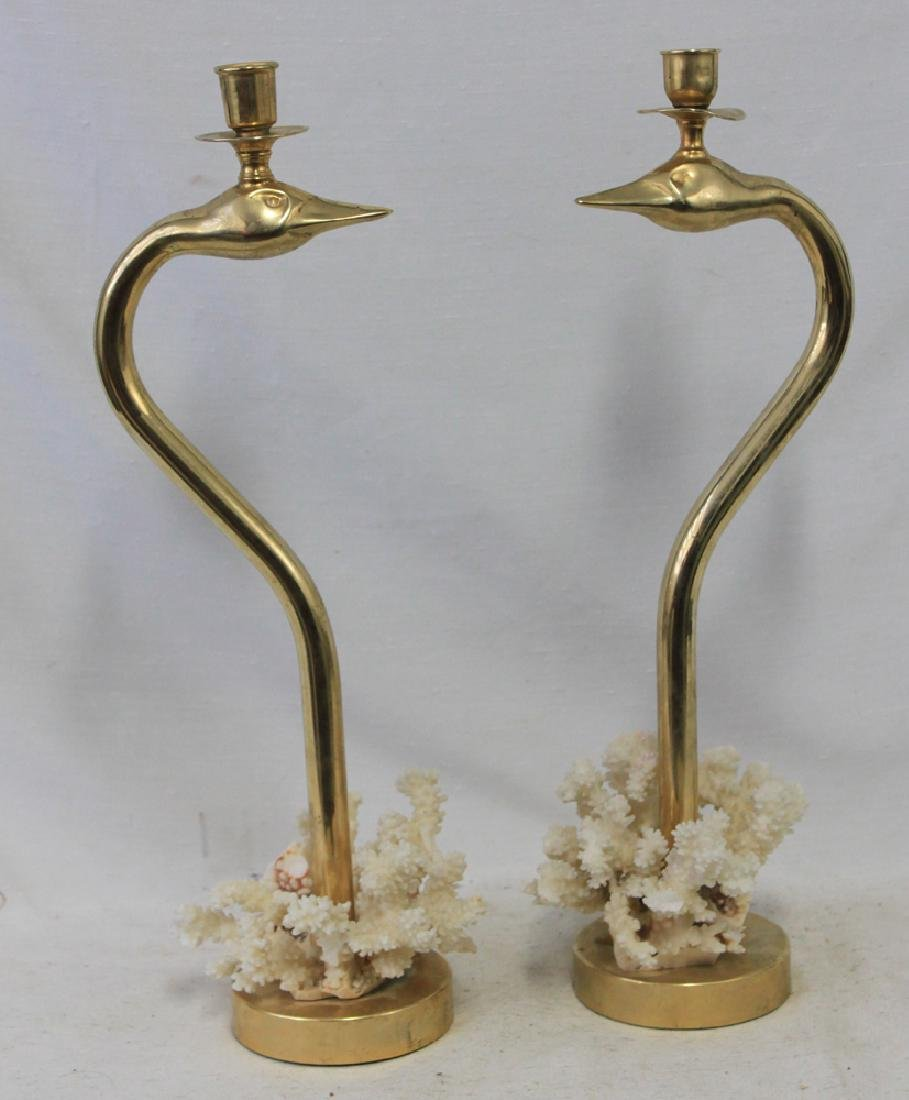 Pair Art Nouveau Brass Single Candle Holder.