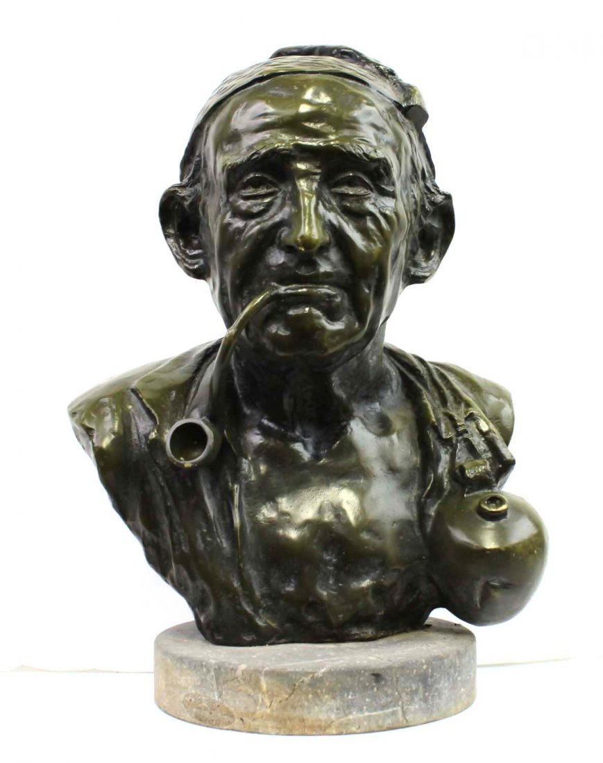 American Modern Bronze Bust Of a Man With Pipe Signed