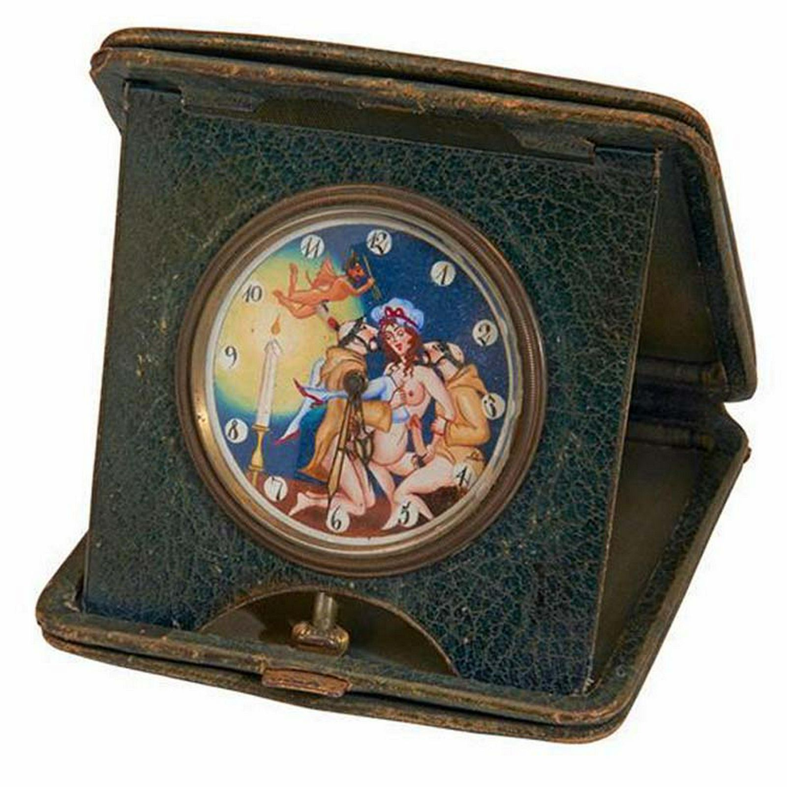 Erotic leather-cased automated travel clock