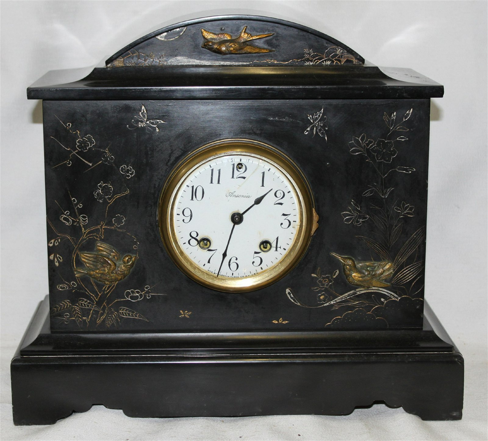 19 C FRENCH INCISED MARBLE CLOCK W/ ANSONIA MOVEMENT