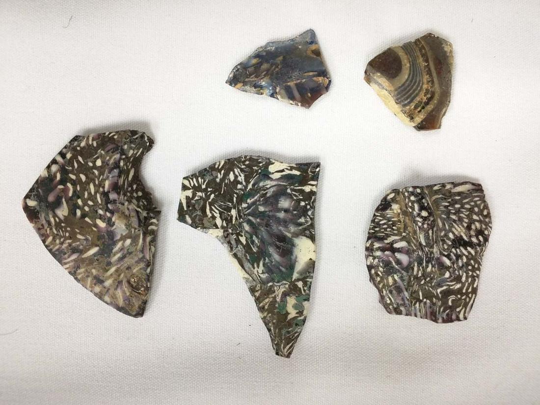 Five pieces Roman Millefiori Glass 3rd - 2nd Century