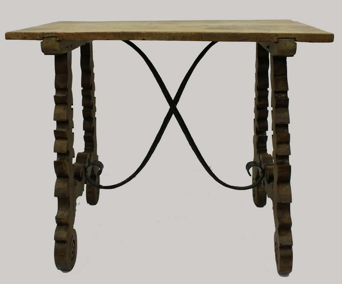 17 Century Italian Walnut Table with Wrought-Iron.
