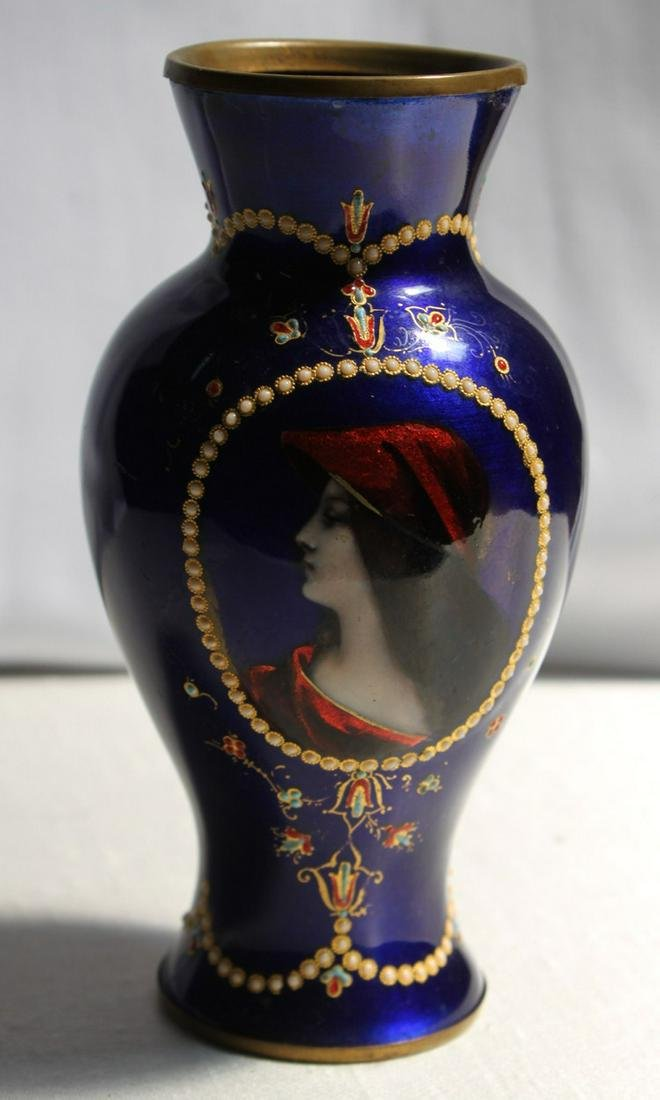 19th Century French Copper Enamel Coated Vase