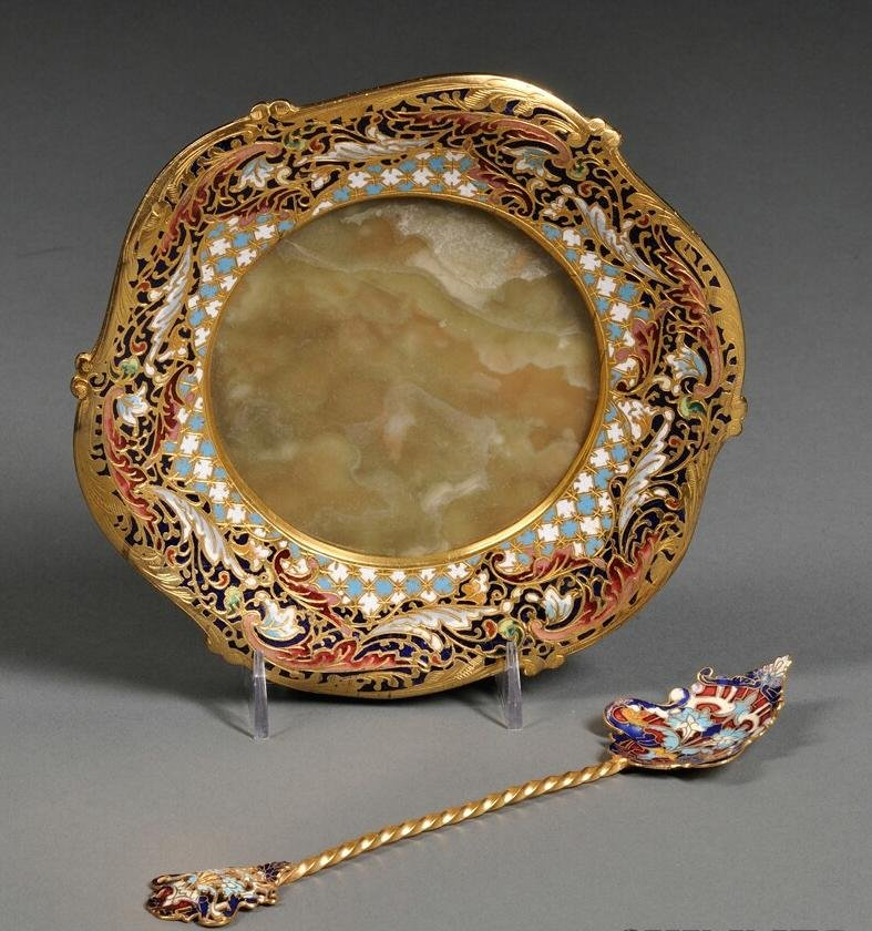 Champleve Dish and Spoon, France, 19th Century