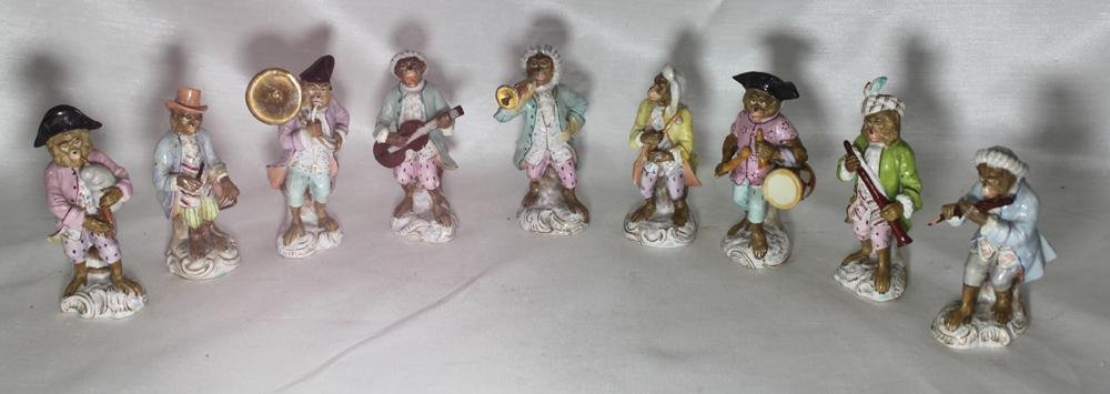 Set of Nine German Monkey Band