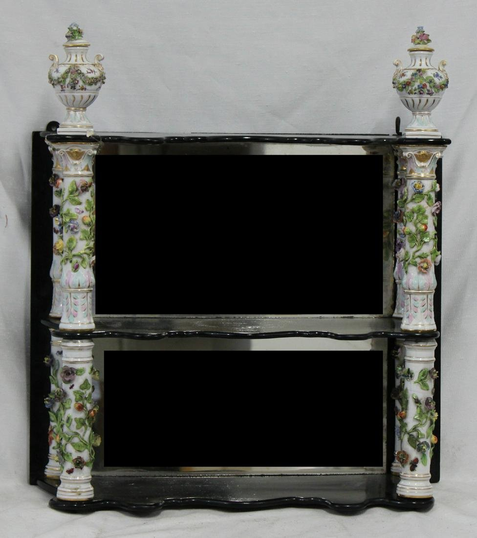 19 Century Porcelain and Wood Two-tier Mirrored Wall