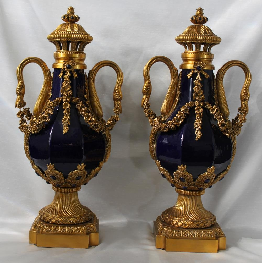 A Pair Of Gilt Bronze Mounted Blue Porcelain Lidded