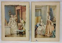 Pair English Watercolor Paintings by G. A. Bouvier