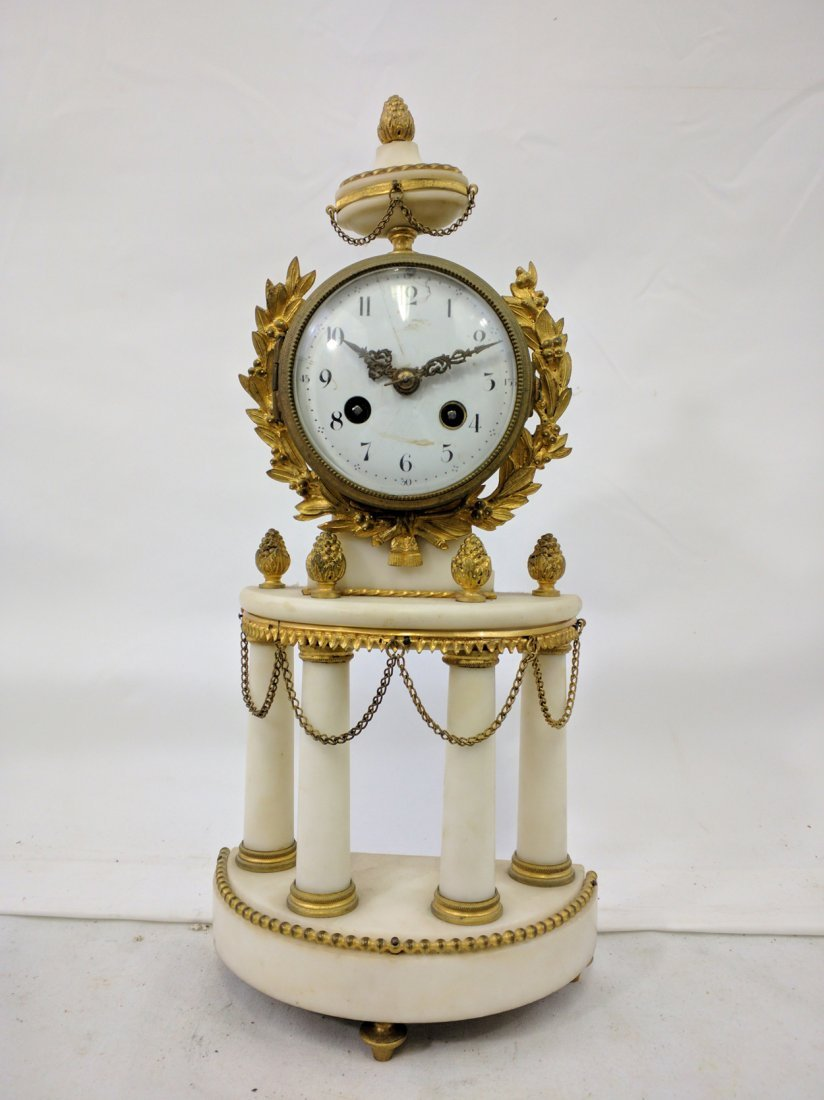 19 Century French Marble and Bronze Clock