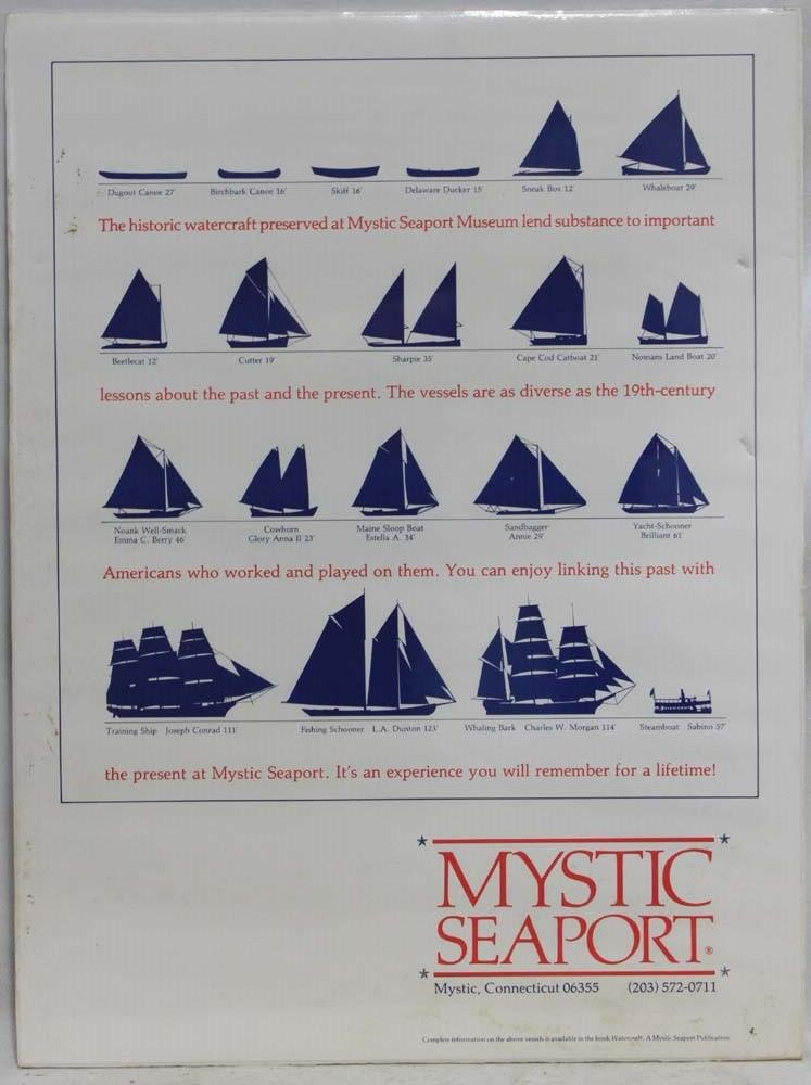 MYSTIC SEAPORT POSTER OF SHIPS BOATS YACHT'S
