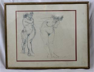 SIGNED PENCIL DRAWING OF TWO NAKED WOMEN