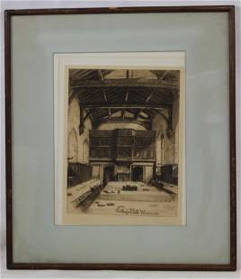 ENGRAVING OF WESTMINSTER BY BURROW SIGNED