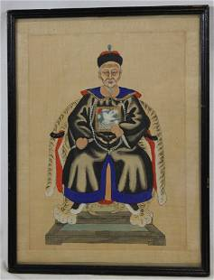 LARGE WOODBLOCK PRINT OF AN ASIAN MAN