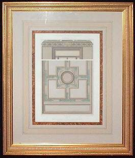Large architectural lithograph