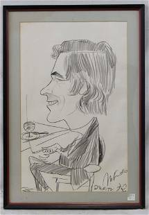 Old Pencil Drawing of Man Signed St Moritz 72