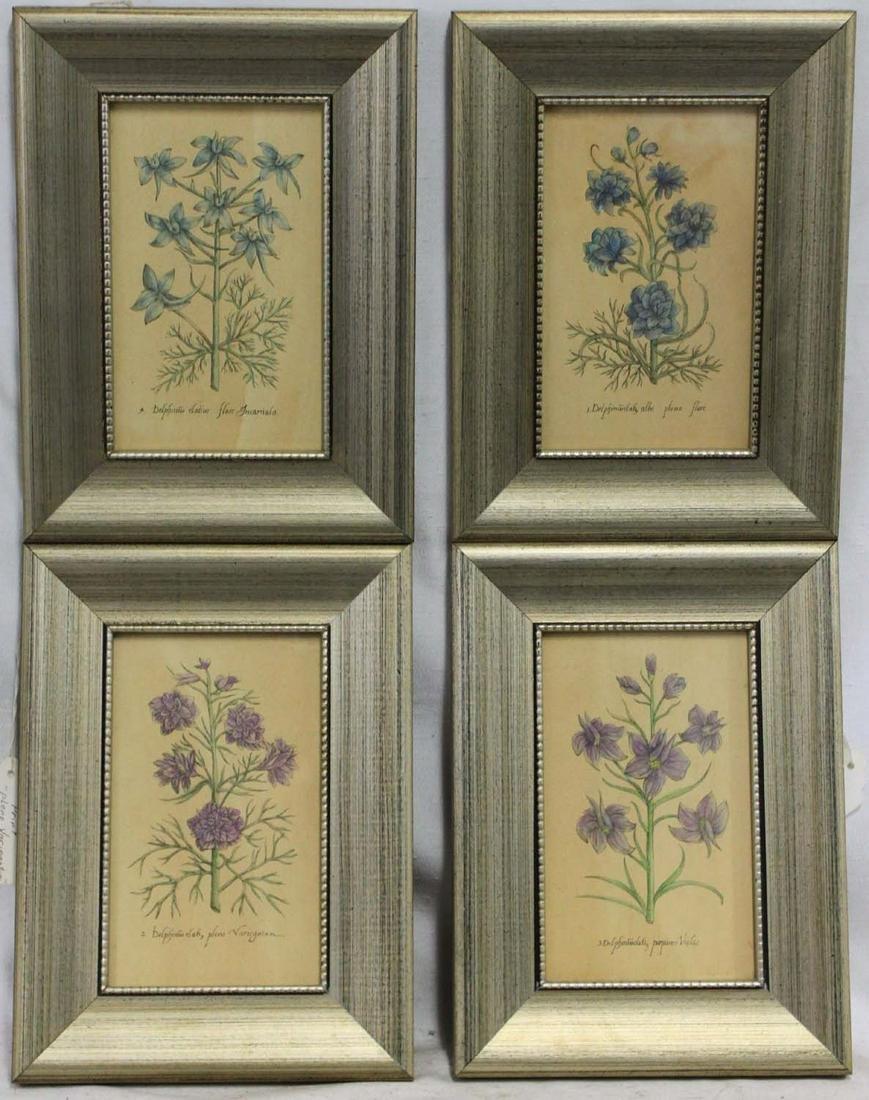 Set of 4 Fine Decorative Flower Lithograph (Print)
