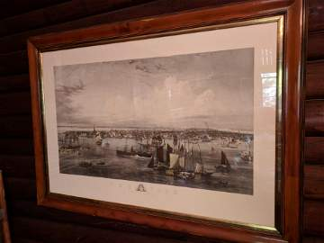 LARGE ENGRAVING 1855 NEW YORK HARBOR ENGRAVED BY C