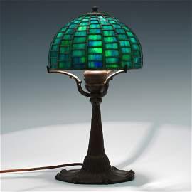 Tiffany Studios Geometric Leaded Glass Lamp