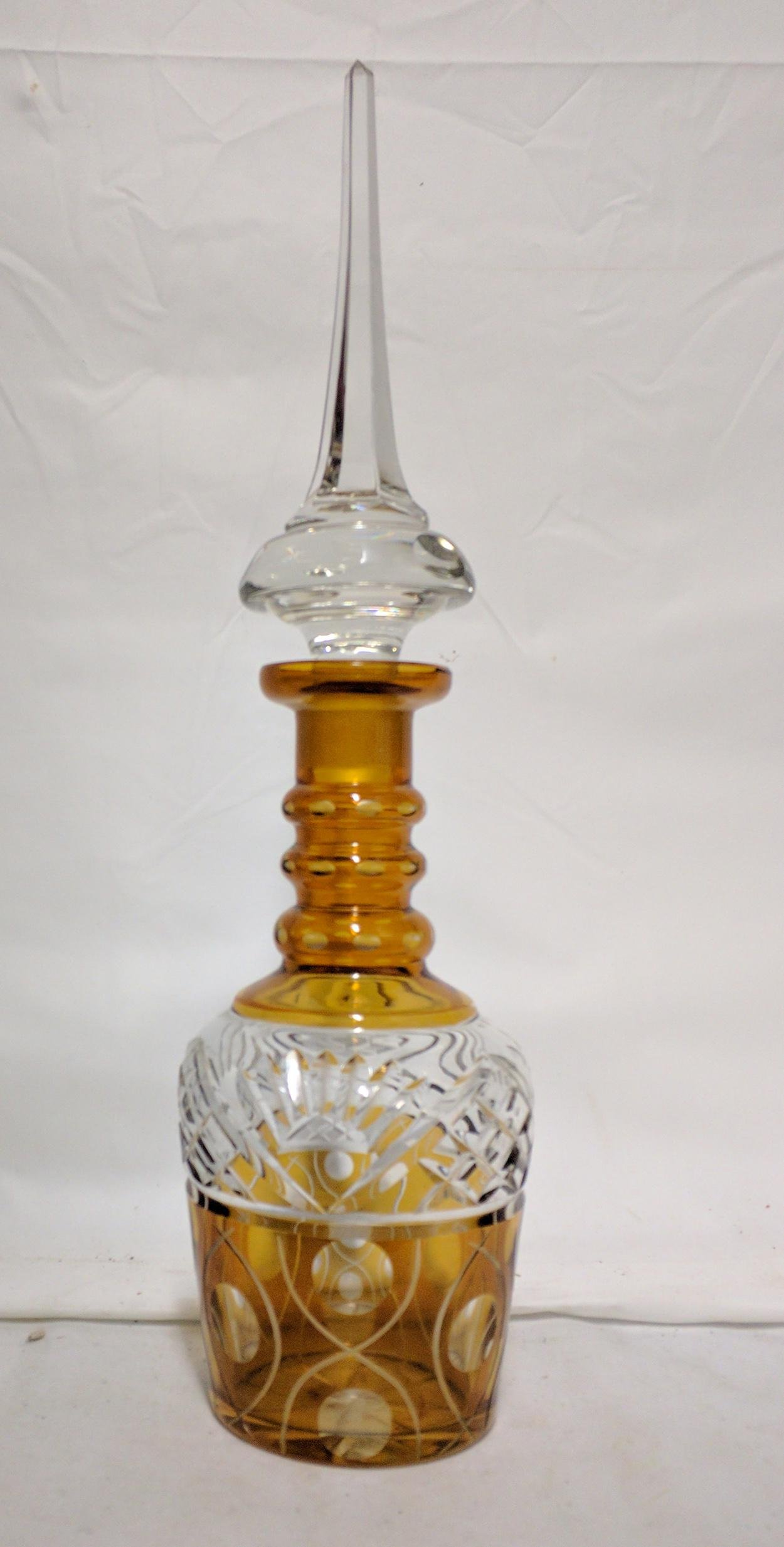 Bohemian Amber Color Cut-to-Clear Decanter
