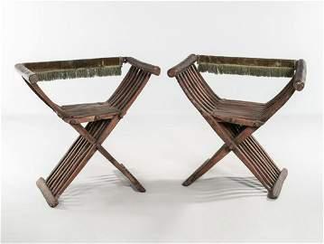 Pair Italian 17 Century Walnut Savonarola Chairs