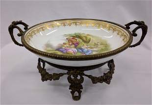 19C FRENCH SEVRES PORCELAIN & BRONZE CENTERPIECE