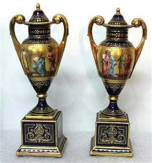 Late 19th century Pair of Vienna Porcelain Covered Urns