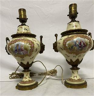 Pair 18th Century Sevres Porcelain Urns Signed