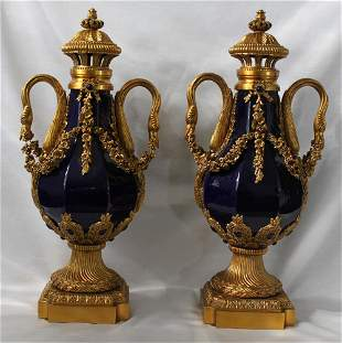 A Pair Of Gilt Bronze Mounted Blue Porcelain Lidded